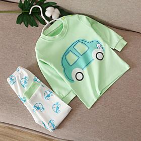 Kids Boys' Basic Daily Cartoon Print Long Sleeve Regular Clothing Set Light Green