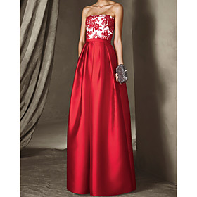 A-Line Floral Sexy Wedding Guest Formal Evening Dress Strapless Sleeveless Floor Length Satin with Pleats Appliques 2020