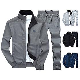 Men's Daily Activewear Set Print Casual Streetwear Hoodies Sweatshirts  Long Sleeve Black Blue Light gray