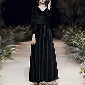 A-Line Glittering Minimalist Wedding Guest Formal Evening Dress V Neck 3/4 Length Sleeve Floor Length Velvet with Sequin 2020