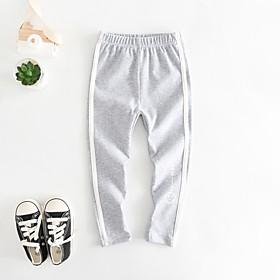 Kids Girls' Basic Black White Blue Solid Colored Print Pants Black