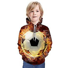 Kids Boys' Active Basic Color Block 3D Graphic Print Long Sleeve Hoodie  Sweatshirt Light Brown