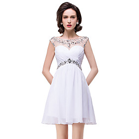 A-Line Elegant Beautiful Back Party Wear Cocktail Party Dress Illusion Neck Sleeveless Short / Mini Chiffon with Pleats Crystals 2020