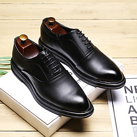 Men's Oxfords Business / Casual Office  Career Walking Shoes PU Breathable Non-slipping Wear Proof Black / Brown Spring / Fall