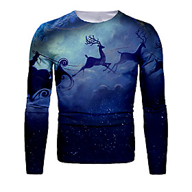 Men's Christmas T-shirt 3D Graphic Long Sleeve Tops Basic Round Neck Blue