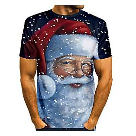 Men's Christmas T-shirt 3D Graphic Short Sleeve Tops Basic Round Neck Black / White