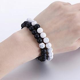2pcs Couple's Bead Bracelet Friendship Bracelet Hologram Bracelet Beads Fashion Sweet Heart Birthday Simple Classic Basic Punk Trendy Stone Bracelet Jewelry Wh