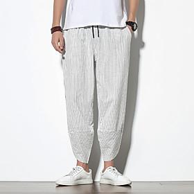 Men's Chinoiserie Daily Home Sweatpants Pants Striped Black White Stripe Drawstring Breathable White Black Navy Blue M L XL