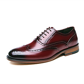 Men's Oxfords Business Daily Walking Shoes Cowhide Breathable Shock Absorbing Wear Proof Wine / Black Spring / Fall