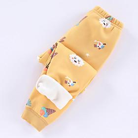 Kids Girls' Basic Graphic Print Pants Yellow