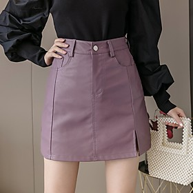 Women's Casual / Daily Basic Above Knee Skirts Solid Colored Split