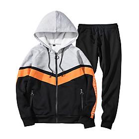 Men's Daily Activewear Set Color Block Casual Streetwear Hoodies Sweatshirts  Long Sleeve Black Gray