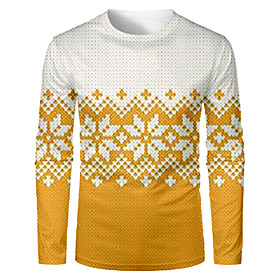 Men's Christmas T-shirt Color Block 3D Graphic Long Sleeve Tops Basic Round Neck Yellow