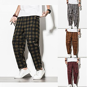 Men's Chinoiserie Folk Style Daily Home Sweatpants Pants Plaid Checkered Black  Red Black Red Baggy Drawstring Outdoor Black Red Orange M L XL
