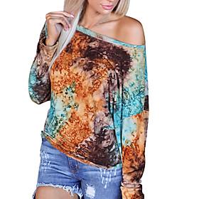 Women's Blouse Shirt Abstract Round Neck Tops Basic Basic Top Rainbow