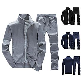 Men's Daily Activewear Set Solid Color Casual Streetwear Hoodies Sweatshirts  Long Sleeve Black Blue Gray