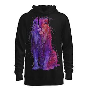 Men's Daily Pullover Hoodie Sweatshirt 3D Graphic Animal Hooded Basic Hoodies Sweatshirts  Long Sleeve Black