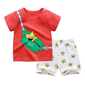 Kids Boys' Basic Daily Cartoon Print Short Sleeve Regular Clothing Set Red