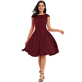 A-Line Elegant Minimalist Party Wear Cocktail Party Dress Boat Neck Short Sleeve Knee Length Spandex with Bow(s) Pleats 2020