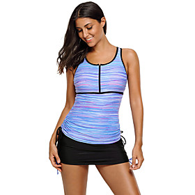 Women's Casual / Sporty High-Waisted Tankini Sets Tankini Swimsuit Stripe Zipper High Waist Striped Scoop Neck Swimwear Bathing Suits Purple Green / Padded Bra
