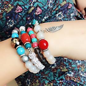 4pcs Women's Bead Bracelet Friendship Bracelet Wrap Bracelet Stacking Stackable Fashion Birthday Wings Simple Luxury Tassel Basic Boho Acrylic Bracelet Jewelry