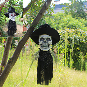 Halloween Party Toys Halloween Hanging Ghost Electric with Scary Sound and Glowing LED Red Eyes Resin Kid's Adults Trick or Treat Halloween Party Favors Suppli