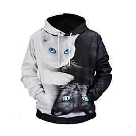 Men's Daily Activewear Set Color Block Animal Hooded Basic Hoodies Sweatshirts  Black