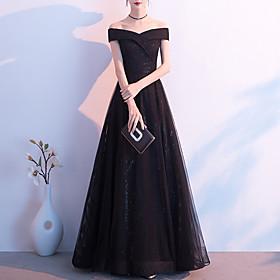 A-Line Elegant Glittering Wedding Guest Formal Evening Dress Off Shoulder Short Sleeve Floor Length Tulle with Sleek 2020