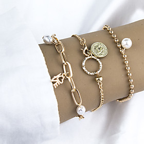 3pcs Women's Charm Bracelet Bracelet Coin Love Stylish Simple European Alloy Bracelet Jewelry Gold For Gift Date Birthday