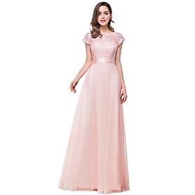 A-Line Elegant Minimalist Engagement Formal Evening Dress Boat Neck Short Sleeve Floor Length Chiffon Lace with Bow(s) Pleats 2020