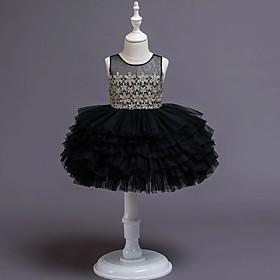 Kids Girls' Basic Black Floral Layered Sleeveless Knee-length Dress Black