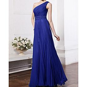A-Line Elegant Glittering Wedding Guest Formal Evening Dress One Shoulder Sleeveless Floor Length Chiffon with Pleats Beading 2020
