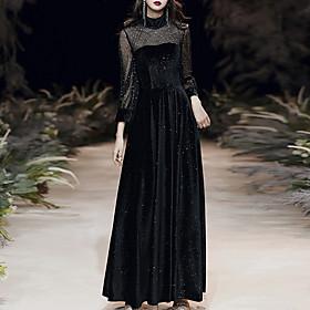 A-Line Glittering Vintage Wedding Guest Formal Evening Dress High Neck Long Sleeve Floor Length Velvet with Sequin 2020