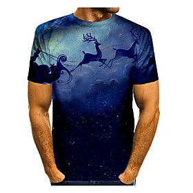 Men's Christmas T-shirt Galaxy 3D Graphic Short Sleeve Tops Basic Round Neck Blue