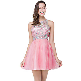 A-Line Elegant Luxurious Party Wear Cocktail Party Dress Jewel Neck Sleeveless Short / Mini Tulle with Pleats Crystals 2020
