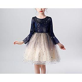 Kids Girls' Basic Blue Color Block Layered Long Sleeve Knee-length Dress Blue