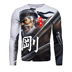 Men's Daily T-shirt Graphic Portrait Print Long Sleeve Tops Basic Round Neck Gray / Sports