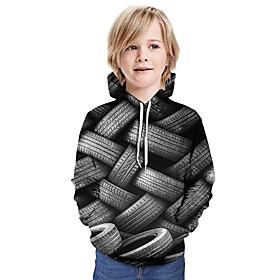 Kids Boys' Active Basic 3D Graphic Print Long Sleeve Hoodie  Sweatshirt Gray