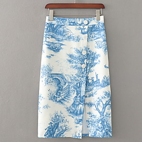 Women's Casual / Daily Basic Chinoiserie Above Knee Skirts Color Block Print