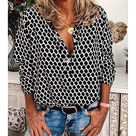 Women's Blouse Shirt Abstract Long Sleeve Print Shirt Collar Tops Slim Basic Basic Top White Khaki