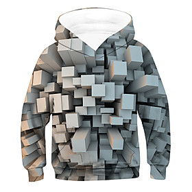 Kids Boys' Active Basic 3D Drawstring Long Sleeve Hoodie  Sweatshirt Gray