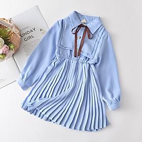 Kids Girls' Basic Blue Solid Colored Ruched Long Sleeve Above Knee Dress Light Blue