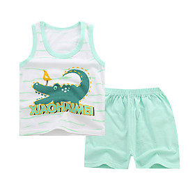 Kids Boys' Basic Daily Cartoon Letter Print Sleeveless Regular Regular Clothing Set Light Green