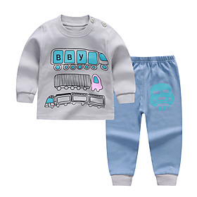 Kids Boys' Basic Daily Cartoon Letter Print Long Sleeve Regular Clothing Set Gray