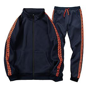 Men's Daily Activewear Set Color Block Casual Streetwear Hoodies Sweatshirts  Long Sleeve Black Blue
