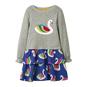 Kids Girls' Basic Animal Print Long Sleeve Knee-length Dress Gray