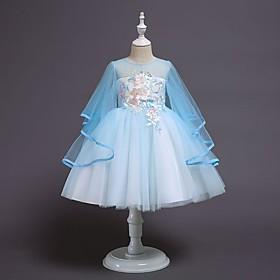 Kids Girls' Basic Blue Solid Colored Layered Above Knee Dress Blushing Pink