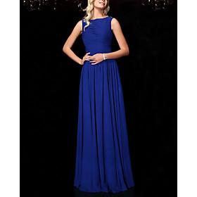 A-Line Elegant Minimalist Wedding Guest Formal Evening Dress Boat Neck Sleeveless Floor Length Chiffon with Pleats 2020