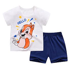 Kids Boys' Basic Daily Cartoon Letter Print Short Sleeve Regular Clothing Set White