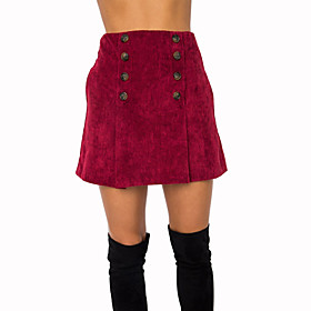 Women's Casual / Daily Basic Corduroy Mini Skirts Solid Colored / Slim